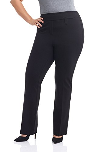 Rekucci Curvy Woman Secret Figure Knit Bootcut Plus Size Pant w/Tummy Control (18W,Black)