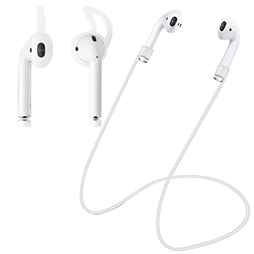 Ear Straps - (UPDATED MODEL) Lightweight White Strap With Free Ear Hook - Compatible with AirPods (AirPods Ear Hooks, AirPods EarHooks, AirPods Ear Tips, Airpod Strap) by Greenkey Accessories