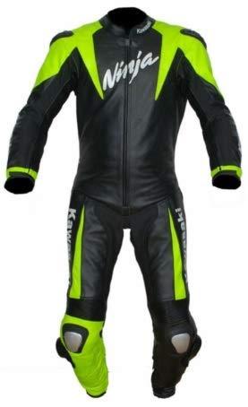 Protection CE Kawasaki Combinaison de Moto en Cuir pour Homme