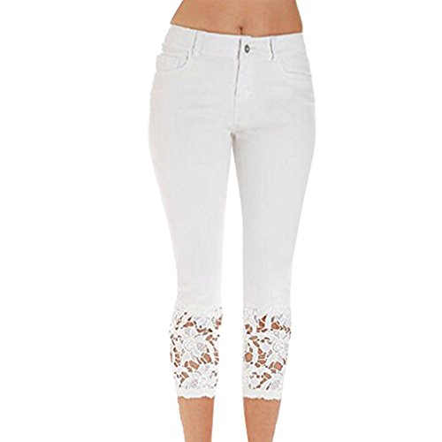 Pantaloni Allungare Slim Bianco Skinny Sexy Pizzo Estate Donna Moda Jeans Denim 70U1x