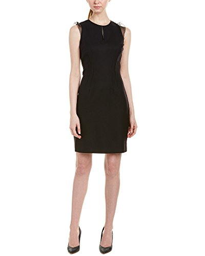 Blend Sheath Dress - Elie Tahari Womens Silk-Trim Wool-Blend Sheath Dress, 4