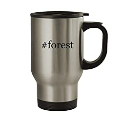 #forest - 14oz Sturdy Hashtag Stainless Steel Travel Mug, Silver