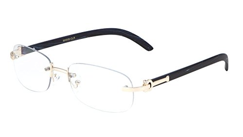 Dean Slim Rimless Metal & Wood Eyeglasses / Clear Lens Sunglasses - Frames (Rose Gold & Black Wood, - Clear Sunglasses Rimless