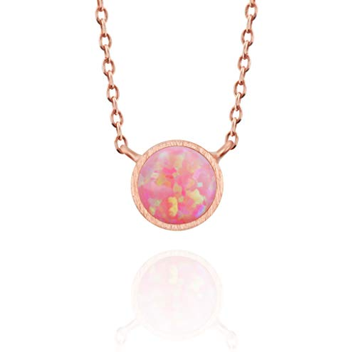 - MUSTHAVE 14K Rose Gold Plated Opal Necklace, Round Bezel & Anchor Chain, White/Green/Pink Opal Necklace, Size 16 inch + 2 inch Extender (Rose Gold)
