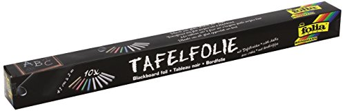 Folia 390090 - Tafelfolie 135µ, 1 Rolle 45x200cm, schwarz, selbstklebend, inklusive 10 Kreiden