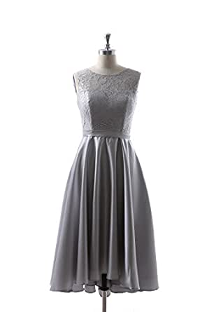 Qingrong Women's Sleeveless Chiffon Bridesmaid Dress Appliques Evening Gown Lace Prom Dress (s)