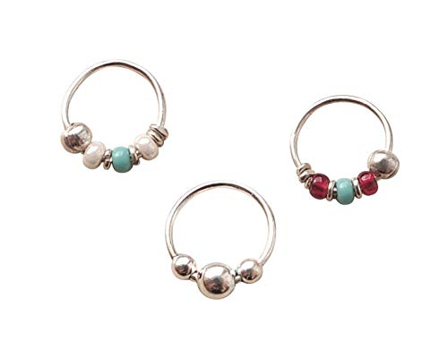 - Set 8mm Nose Ring Sterling Silver, Silver 8mm Helix, Cartilage, Beaded Hoops, Bali Hoops, Ball Hoops