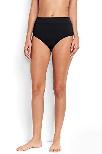 Lands' End Women's High Waisted Tummy Control Bikini Bottoms Black
