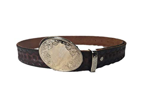 (Handmade Leather Belt Red 49 Inch Western style Solid genuine thick embossed leather design with buckle by Syntryz)