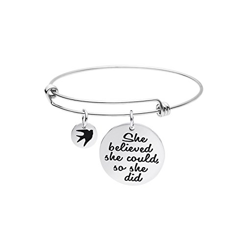 Graduation Gift for Her Expandable Bracelet for Girls Inspirational Saying Engraved Charm Jewelry She Believed She Could So She Did