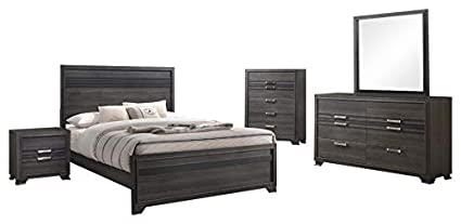 Amazon.com: Dario 5 Piece Bedroom Set, King, Gray Wood, Modern ...