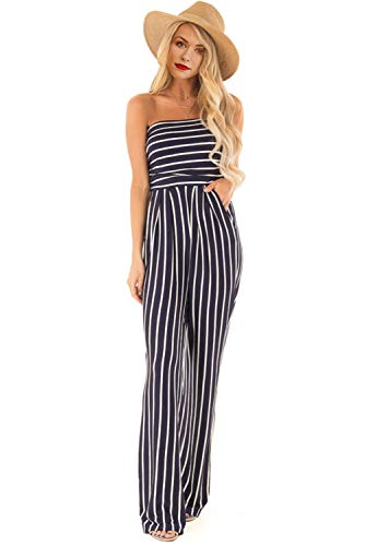 Elegant Tube - Scioltoo Women's Tube Top Sleeve Elegant Jumpsuit Strapless Women's Rompers Loose Wide Leg Stripe Jumpsuit Stripe-Blue XL