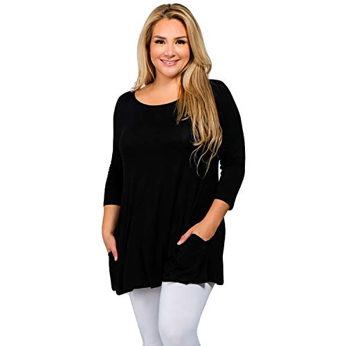 Kate Marie KM Women's 3/4 Sleeve Tunic with Hidden Pockets - Plus Size
