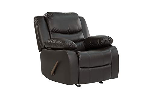 Divano Roma Furniture Classic Bonded Leather Recliner Chair, Brown (Bassett Leather Recliner)