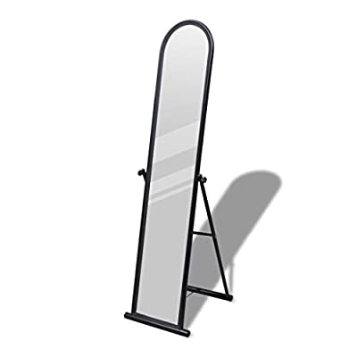 "Chloe Rossetti Rectangular Free Standing Floor Mirror Full Length Mirror in Black Overall size Max.: 1' 3"" x 1' 5"" x 5' (L x W x H) - Frame material: Steel + lacquer coated Mirror size: 4' 9"" x 9.6"" Overall size Max.: 1' 3"" x 1' 5"" x 5' (L x W x H) - mirrors-bedroom-decor, bedroom-decor, bedroom - 31L5Cz2fWtL. SS400  -"