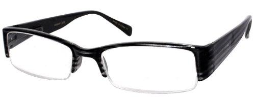 Edge I-Wear Rectangular Semi-Rimless Plastic Reading Glasses with Spring Hinges. 540603PTT 1.50 Black Line Matte Gray
