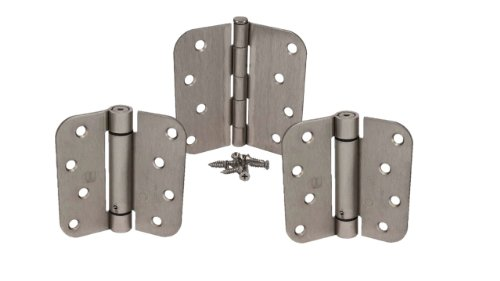 Satin Nickel 4 X 4 with 5/8 Radius Spring Door Hinge Kit - 4 Spring Door Hinge