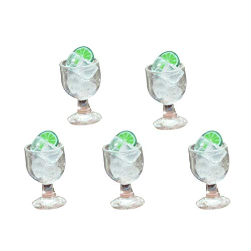 LeSharp Miniature Wine Cup, DIY Dollhouse Miniatures,5Pcs Miniature Goblet Wine Cup with Ice Cube Pretend Play Toy Dollhouse Decor - Goblet