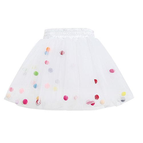 [Tutu Skirt GoFriend Baby Girls Tulle Princess Dress 4-layer Fluffy Ballet Skirt with Little Pom Pom Puff Ball (M,] (Kids Tutu)