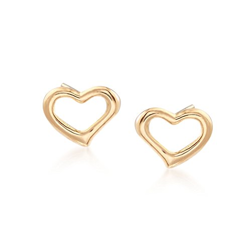 Earrings Large Studded Heart (Ross-Simons 18kt Yellow Gold Open-Space Heart Stud Earrings)