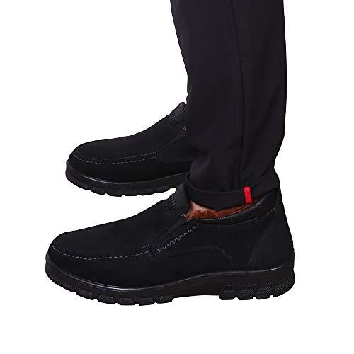 Fheaven Mens Snow Boots Winter Anti-Slip Ankle Booties Waterproof Slip On Warm Fur Velvet Lined Casual Shoes (US:8.5, Black)