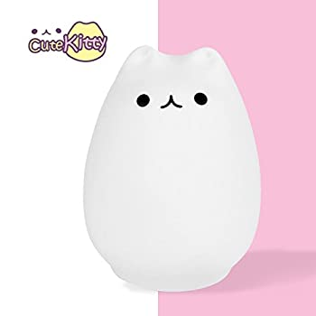 Balla Bébé Baby Children Night Light, USB Rechargeable, Warm White Light, 7 LED Color Breathing Dual Light, Lamp for Baby Room, Bedroom, Nursery, Adults (Cute Kitty)