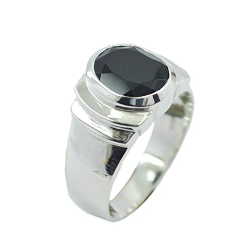 Jaipur 925 Sterling Silver Adorable Genuine Black Ring, Black Onyx Black Stone Silver Ring -