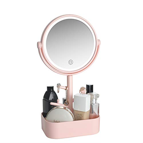 LED lighted Makeup mirror rechargeable, USB/Battery two power supply modes. Vanity Mirror with Natural white light, Touch screen switch, dimmable light Cosmetic mirror with jewelry holder. (Pink)