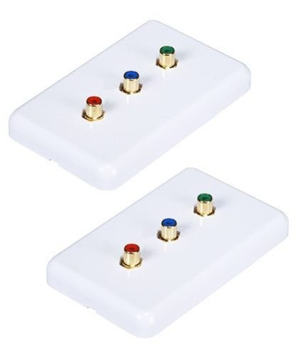 FYL 2x 3 RCA RGB Component Video Female/F Wall Plate Faceplate White ()