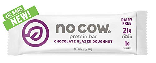 No Cow Protein Bar, Chocolate Glazed Doughnut, 22g Plant Based Protein, Keto Friendly, Low Carb, Low Sugar, Dairy Free, Gluten Free, Vegan, High Fiber, Non-GMO, 12Count