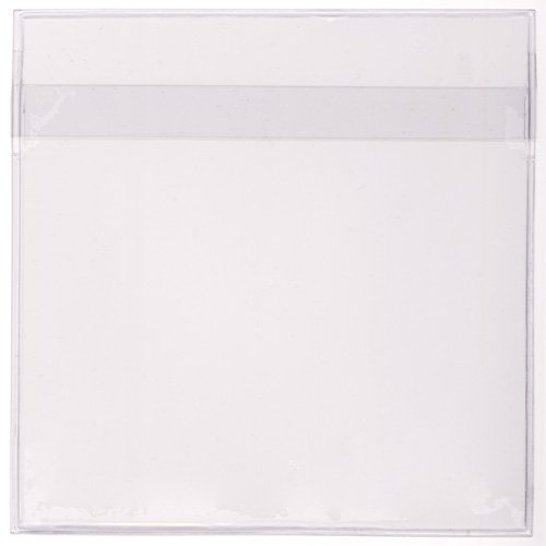 StoreSMART - Peel & Stick CD / DVD Pocket - Clear Plastic - Tight Fit with Flap - 4 1/2'' x 4 1/2'' - 12-Pack - STB2011F-12