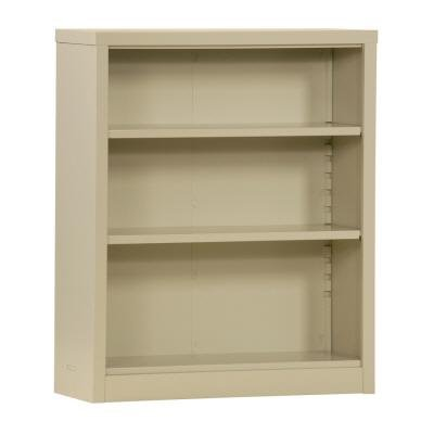 Quick Adjust Steel Bookcase - Sandusky Quick Assembly 34.5 in. Width x 13 in. Depth x 42 in. Height Steel Bookcase Putty Color