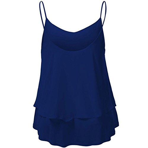 Chaleco Sexy Color Camiseta Tops Sin Shobdw Blusa Tanque Doble Azul Mujeres Cosecha Mangas Halter Candy Gasa 7qw10w5