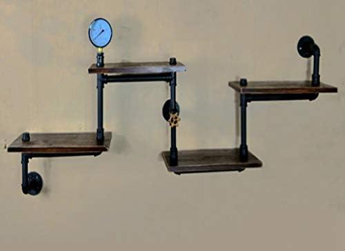 Z形状錬鉄製配水管壁棚本棚壁装飾クリエイティブ産業風パーティション壁掛け棚100 * 60センチ