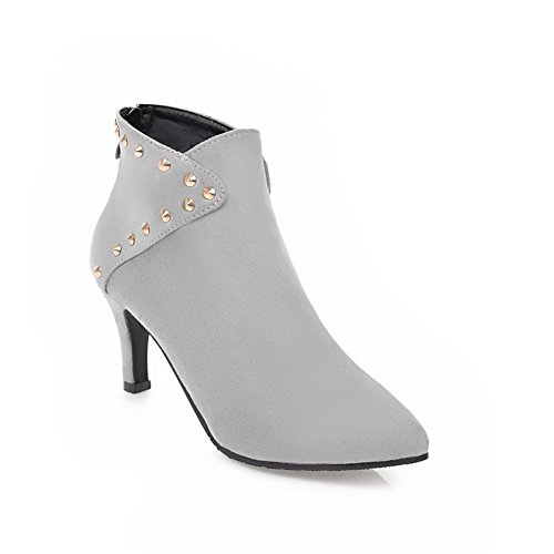 Boots Grommets Gray Zipper Ankle ABL10572 Womens High Pointed Suede BalaMasa Toe T6w8qf5