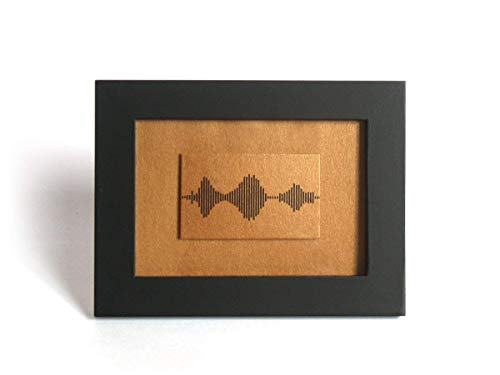 I Love You Soundwave Art, Visible Voice Wedding Anniversary Gifts for him/her, Mother's Day Present - 3.5 x 5 inch, Small Framed Bronze Print, Small Things Great Love