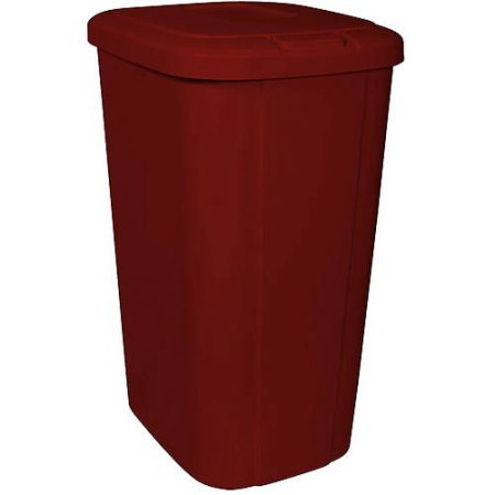 Hefty Touch Lid 13.3 Gallon Red Trash Can, Keeps odors in when closed