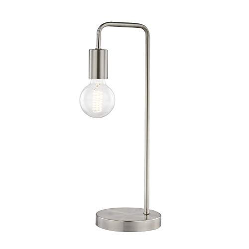Light Society LS-T259-SN Fulton Satin Nickel Table Lamp with Exposed Bulb, Vintage Retro Industrial Modern Style ()