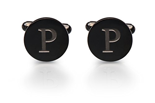 Men's Cobalt Black Engraved Initial Cufflinks with Gift Box- Premium Quality Personalized Alphabet Letter (P)