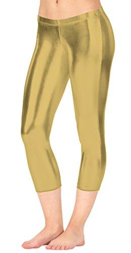 Marvoll Women's Metallic Capri Leggings (X-Large, Light Gold) (Halloween Ideas With Morphsuits)