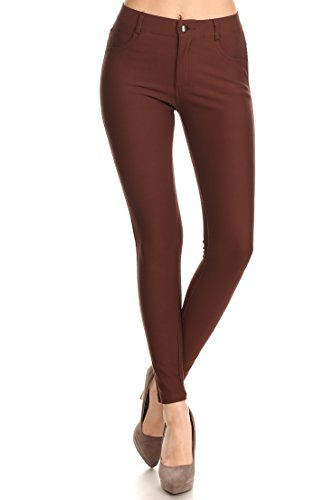 ICONOFLASH Women's Ponte Knit Dress Pants (Brown, Medium) 827NPT001BRWM -