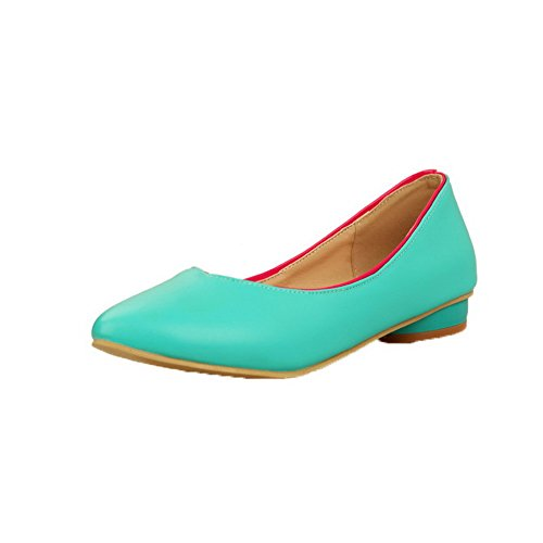 Odomolor Women's Closed-Toe Pull-On PU Solid Low-Heels Court Shoes Blue paSyaHfy7