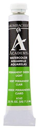 - Grumbacher Academy Watercolor Paint, 7.5ml/0.25 Ounce, Permanent Green Light (A162)