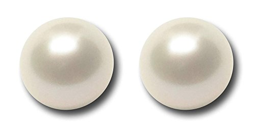 Pair of Japanese Freshwater White Loose AAAA Cultured Pearl 8mm Half Drilled for Pearl Earring Set