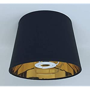 20 cm Abat-jour Tissu Noir doublure Dorée , fait à la main Pour Lampe de Table