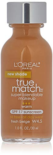 L'Oreal Paris Makeup True Match Super-Blendable Liquid Foundation, Fresh Beige W4.5, 1 fl. oz.