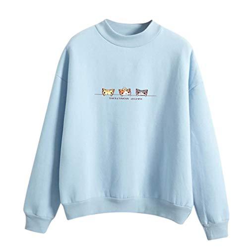 Women Fashion Long Sleeve Three Cats Printed Sweatshirt Blouse Tops T -Shirt -
