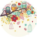 Owl Cartoon birds cage Tree Round One Size Mouse Pad Mousepad
