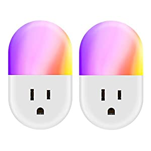 Led Night Light for Kids,2 Pack RGB Plug-in Night Light,Dusk-to-Dawn Sensor, Auto/On/Off Switch, Home Décor (2 Pack)