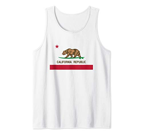 - California Republic Surfing Bear State Flag Tank Top